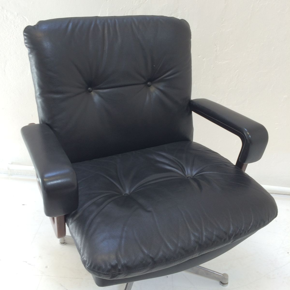 Chair King Sale Black Leather King Office Chair By André Vandenbeuck For