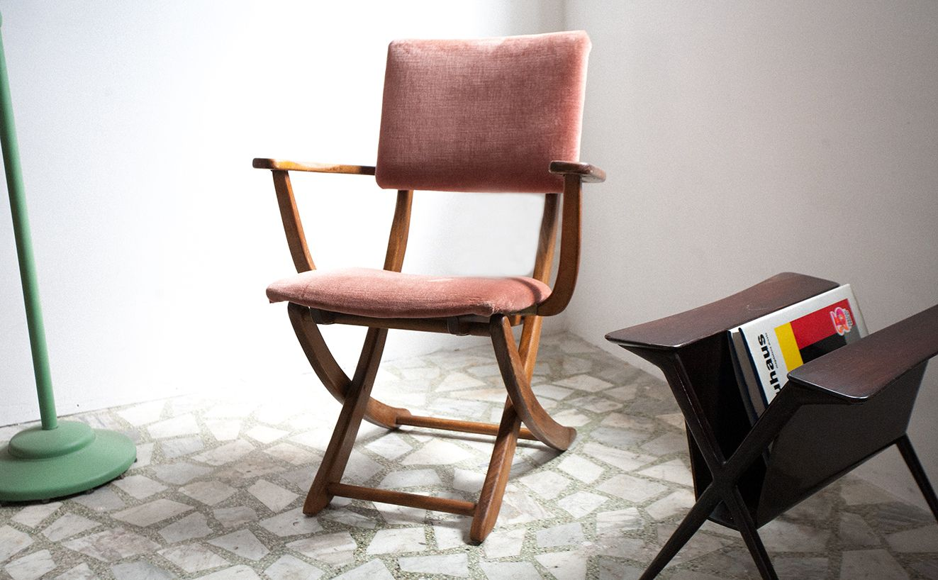 folding chair qatar white chairs wood table italian mid century chestnut for sale at pamono