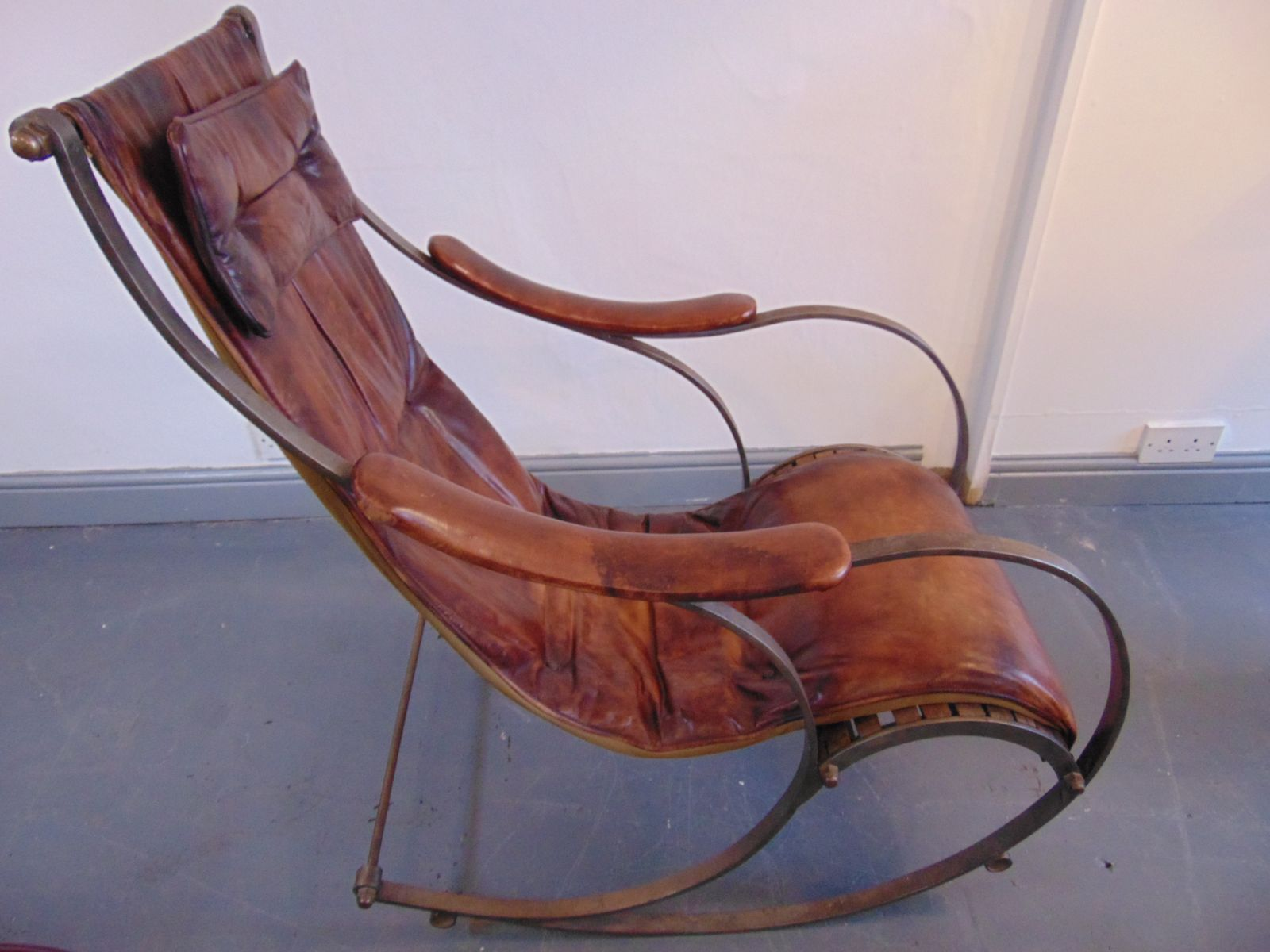 wrought iron rocking chair wassily replica and tan leather by r w winfield