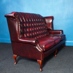 Oxblood Leather Wing Chair Sit Ups Vintage Wingback Chesterfield 3 Seater