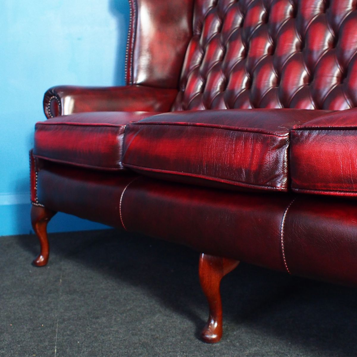 oxblood leather wing chair office disassembly vintage wingback chesterfield 3 seater