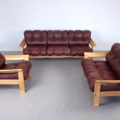 2 Piece Brown Leather Sofa Sectional Gray Vintage Danish 3 Set For Sale At