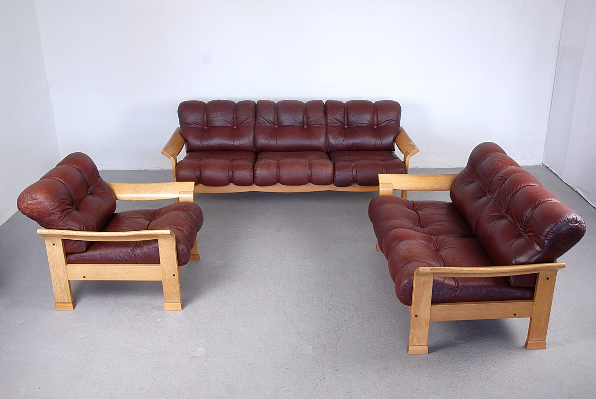 algarve leather sofa and loveseat set corner with recliner bed vintage danish brown 3 piece for sale at