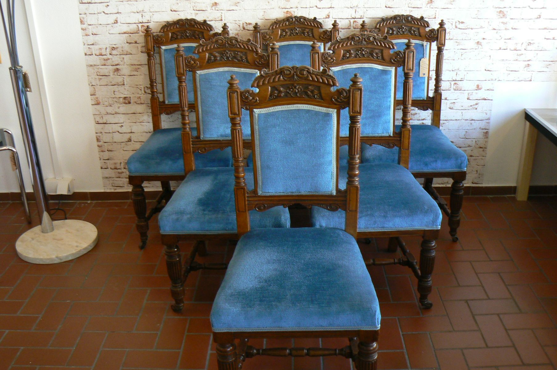 oak dining set 6 chairs infant vibrating chair antique of for sale at pamono