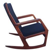 Teak & Black Wool Danish Rocking Chair, 1960s for sale at ...