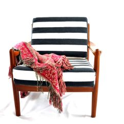 Scandinavian Design Chair Covers Inglesina Zuma High Vintage Teak Lounge With Striped Fabric