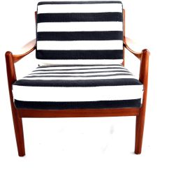 Scandinavian Design Chair Covers Seat Pads Vintage Teak Lounge With Striped Fabric