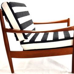 Scandinavian Design Chair Covers S Replica Vintage Teak Lounge With Striped Fabric