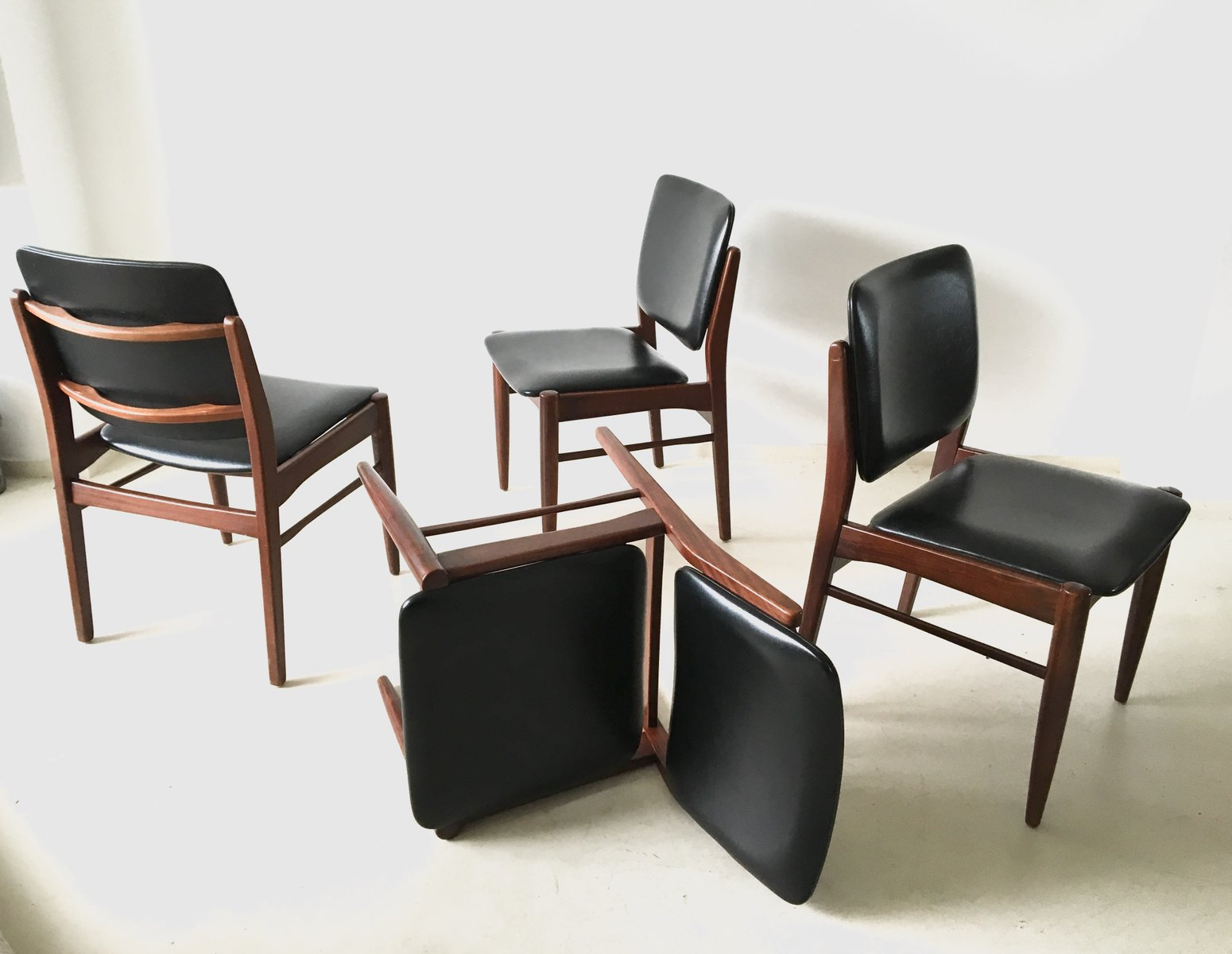 set of 4 chairs cowhide dining chair vintage danish 1960s for sale at