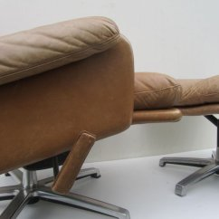 Swivel Club Chair With Ottoman Teal Slipper Mid Century Leather Lounge For