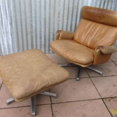 Leather Lounge Chair With Ottoman Folding Beach Wheels Mid Century Swivel For