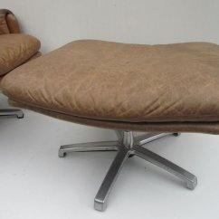Swivel Club Chair With Ottoman Swing Jb Mid Century Leather Lounge For