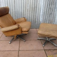 Swivel Club Chair With Ottoman Charles Rennie Mackintosh Willow Mid Century Leather Lounge For