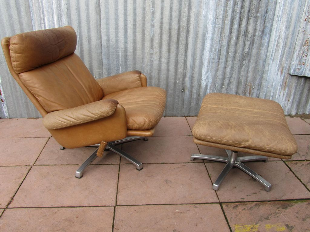Mid Century Chair And Ottoman Mid Century Leather Lounge Swivel Chair With Ottoman For