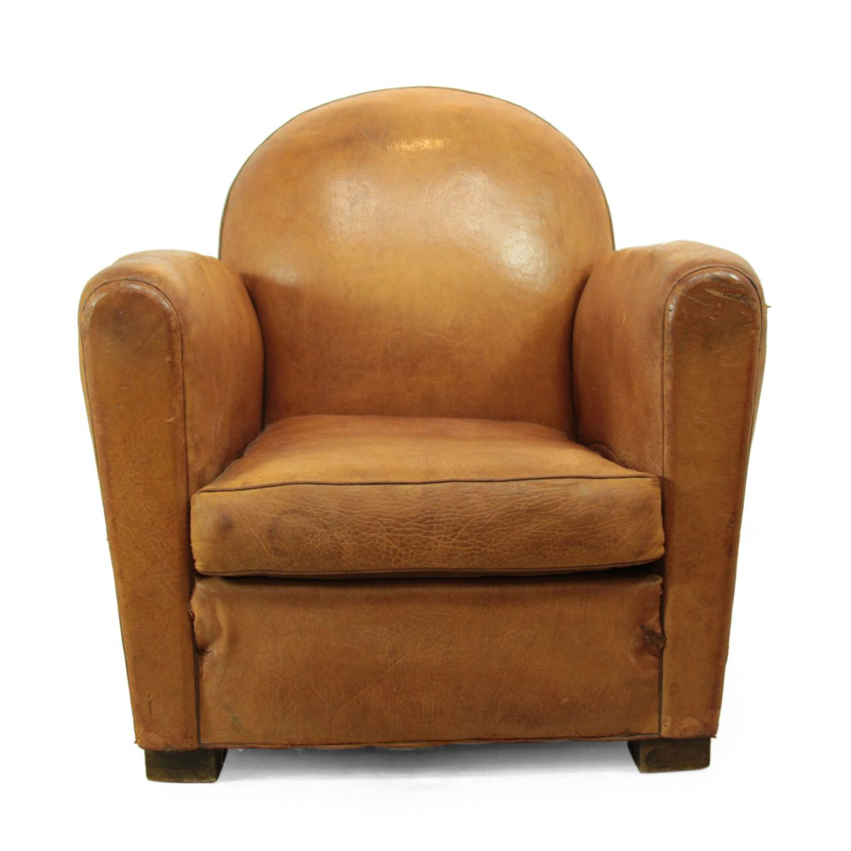 Leather Club Chair Vintage French Brown Leather Club Chair 1930s For Sale At