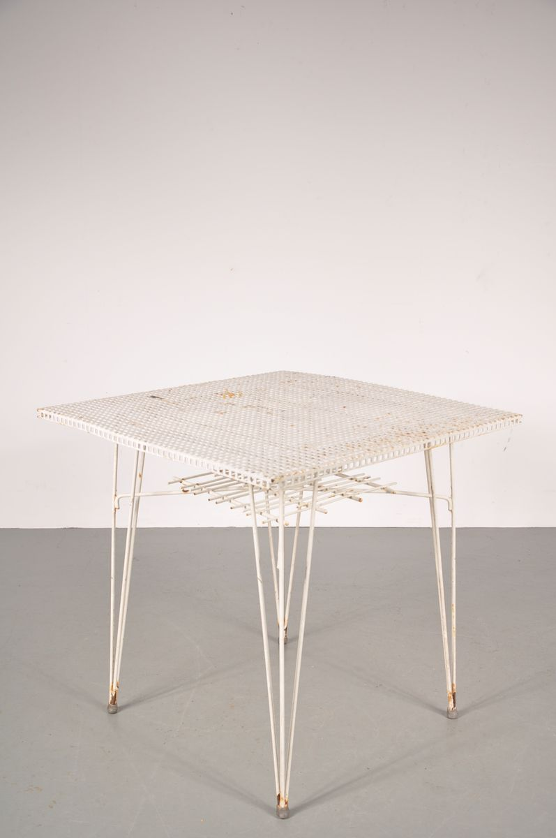 White Perforated Metal Dining Table 1950s for sale at Pamono
