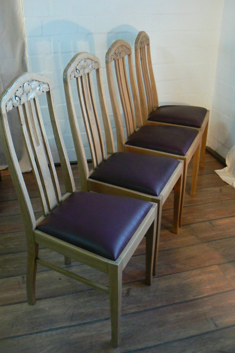 German Antique Oak Dining Chairs Set of 4 for sale at Pamono