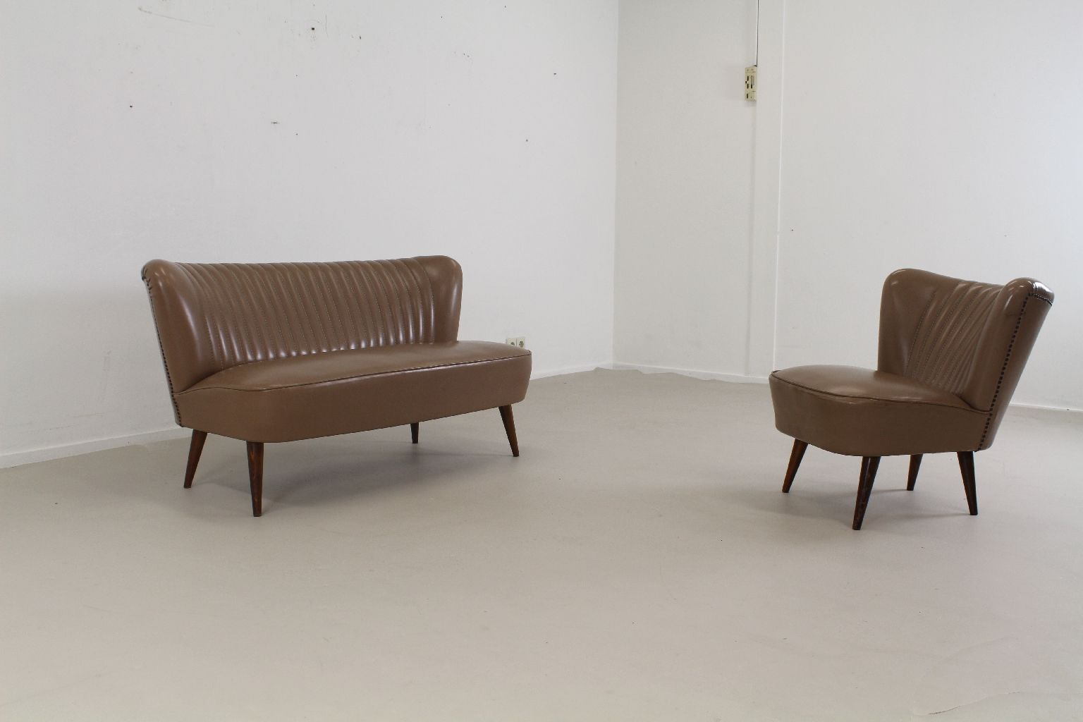 2 seater love chair antique arm leatherette cocktail seat and 1955 set of