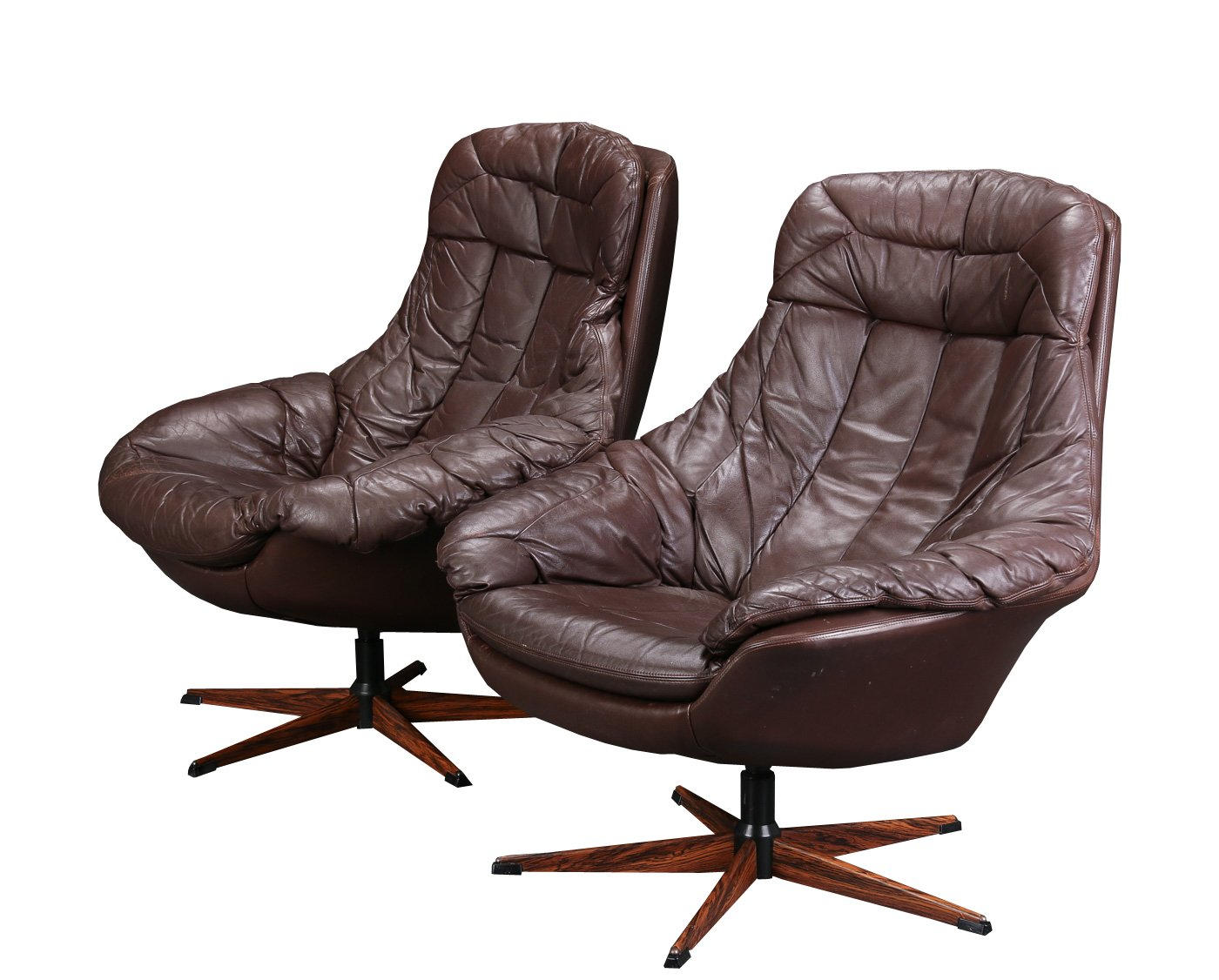 swivel chair brown fishing high banner leather by h w klein for bramin