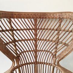 Antique High Back Wicker Chairs Folding Chair Ergonomics Rattan 1940s For Sale At Pamono