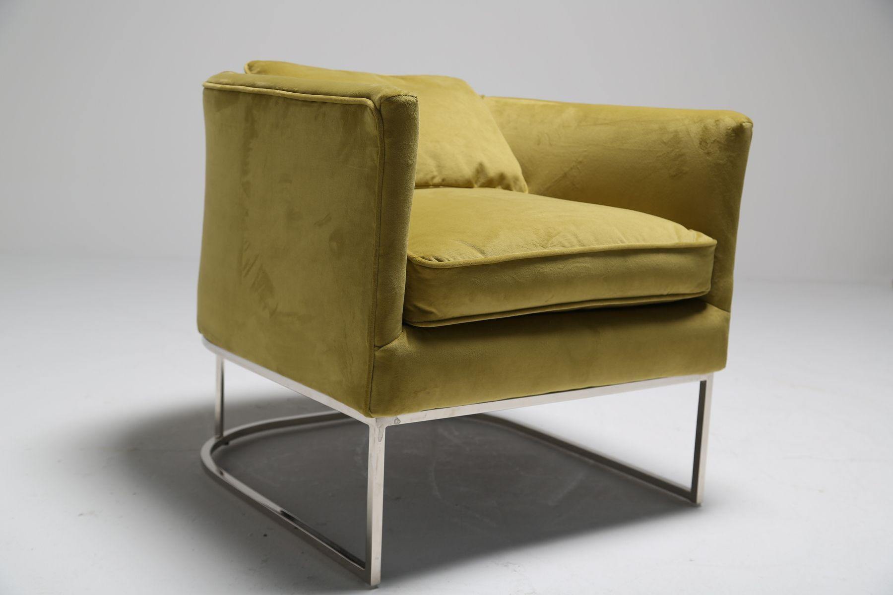 metal tub chair dining covers images chromed and lemon ginger velvet for sale