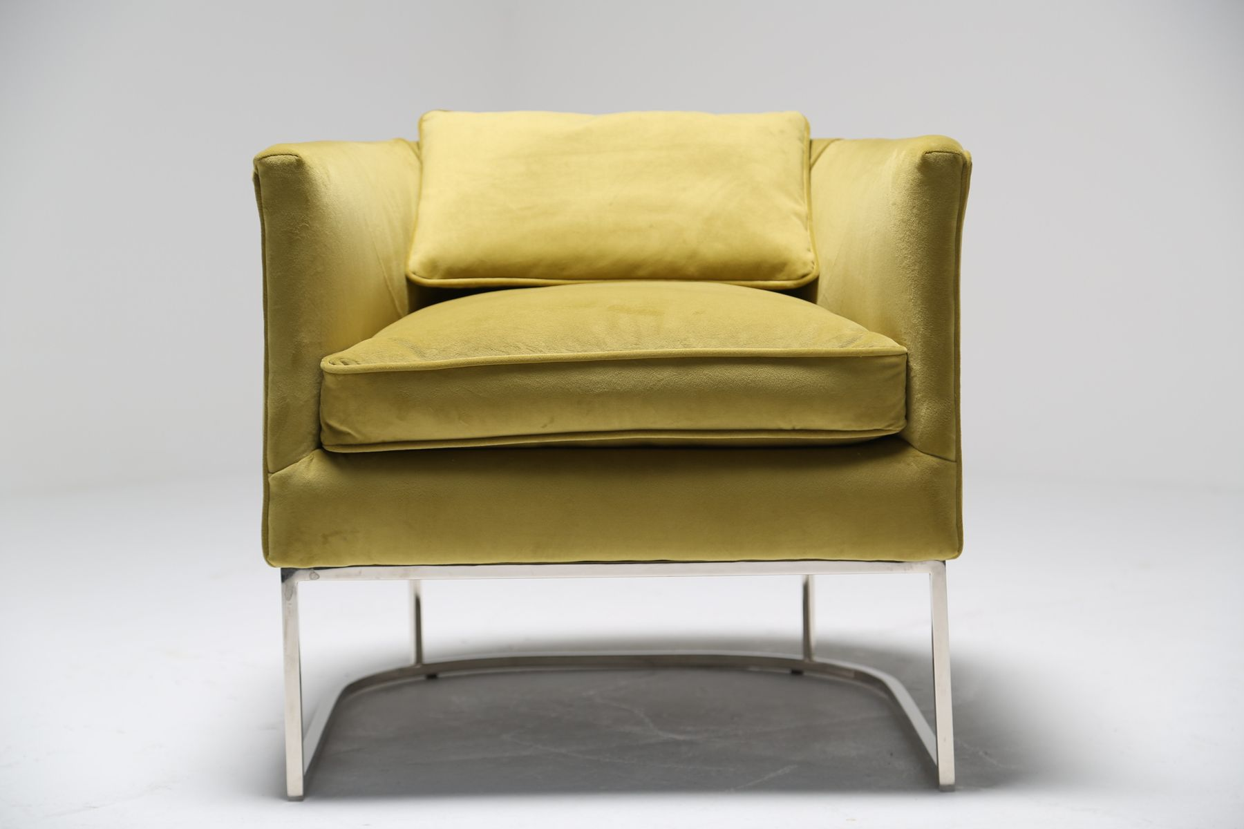 metal tub chair dining chairs with caning chromed and lemon ginger velvet for sale