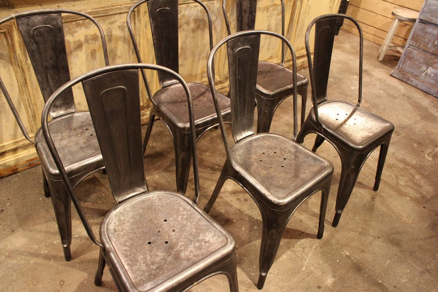 industrial metal chairs rattan outdoor dining uk vintage from tolix 1950s set of