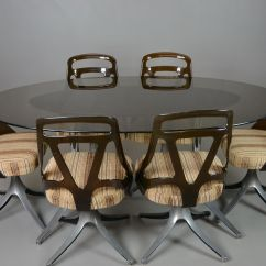 Table With Swivel Chairs Grey Scoop Back Dining Oval Glass And Set For Sale At Pamono