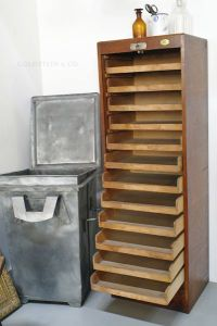 Wooden Roll Front Filing Cabinet for sale at Pamono