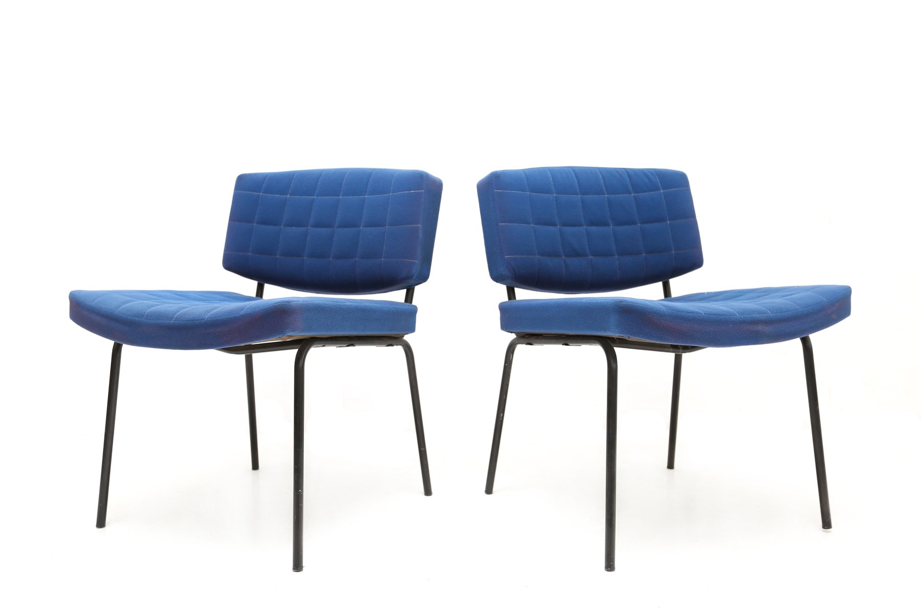 royal blue chairs patio set with swivel by pierre guariche for meurop 1950s
