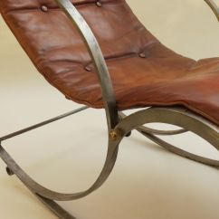 1920s Rocking Chair Modern Rental Steel And Leather For Sale At Pamono