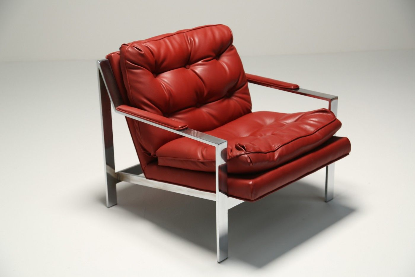 red lounge chair folding banquet chairs leather by cy mann for sale at pamono