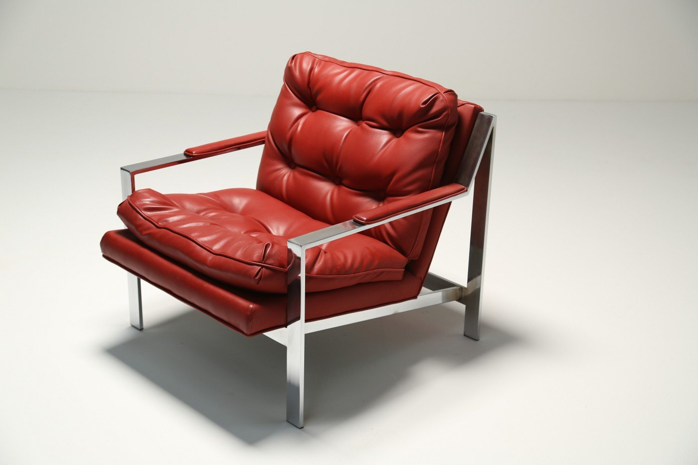 red lounge chair office height extender leather by cy mann for sale at pamono