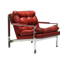 Red Lounge Chair Wicker Cushion Leather By Cy Mann For Sale At Pamono
