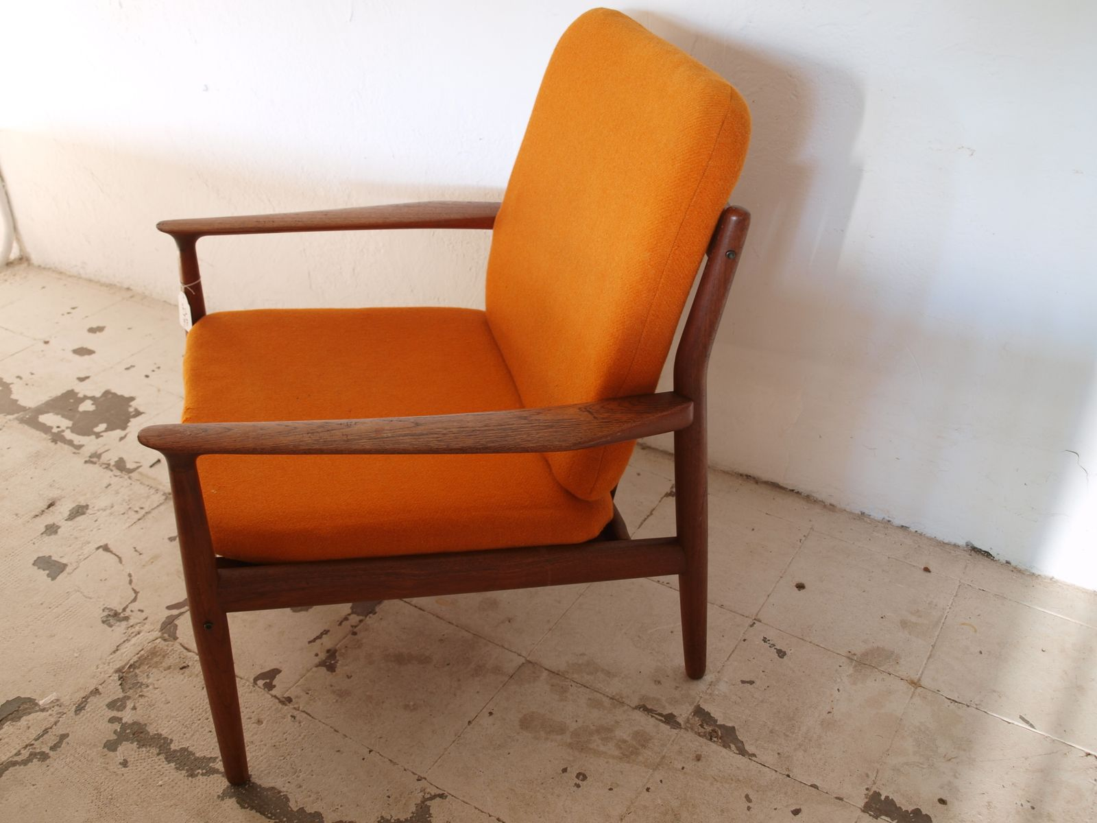 Mid Century Danish Chair Mid Century Danish Easy Chair In Orange For Sale At Pamono