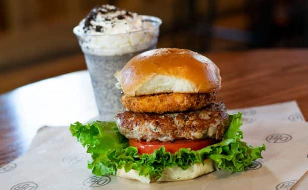 Turkey Burger and Peppermint Cookies and Cream Shake from D-Luxe Burger at Disney Springs
