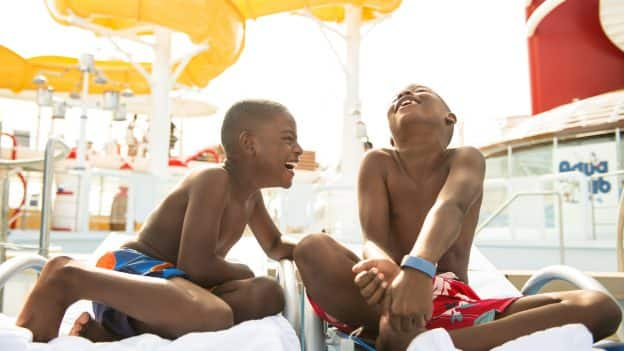 Kids Laughing on a Disney Cruise