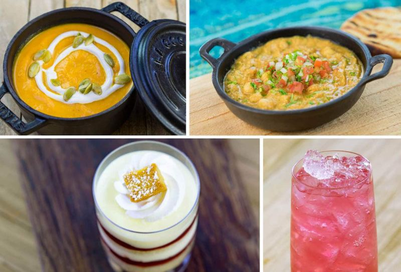 Pumpkin Soup, Chana Masala, Vanilla and Cranberry Trifle, and Pomegranate Lemonade from Winter Wonders Marketplace at Disney Festival of Holidays at Disney California Adventure Park
