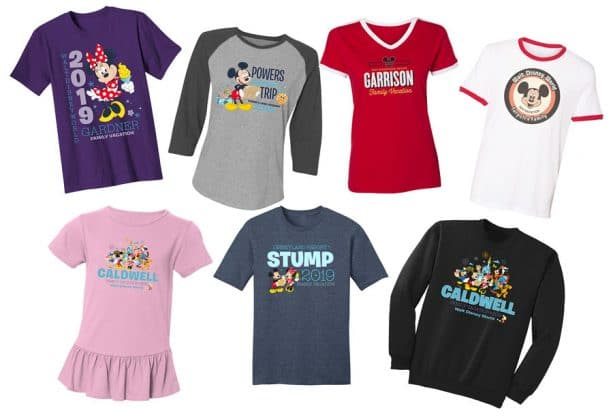 Custom T-shirt options from shopDisney.com