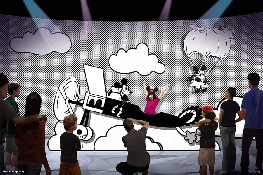 """black and white cartoon world of """"Plane Crazy,"""" where Mickey Mouse and Minnie Mouse both made their first appearance in 1928."""