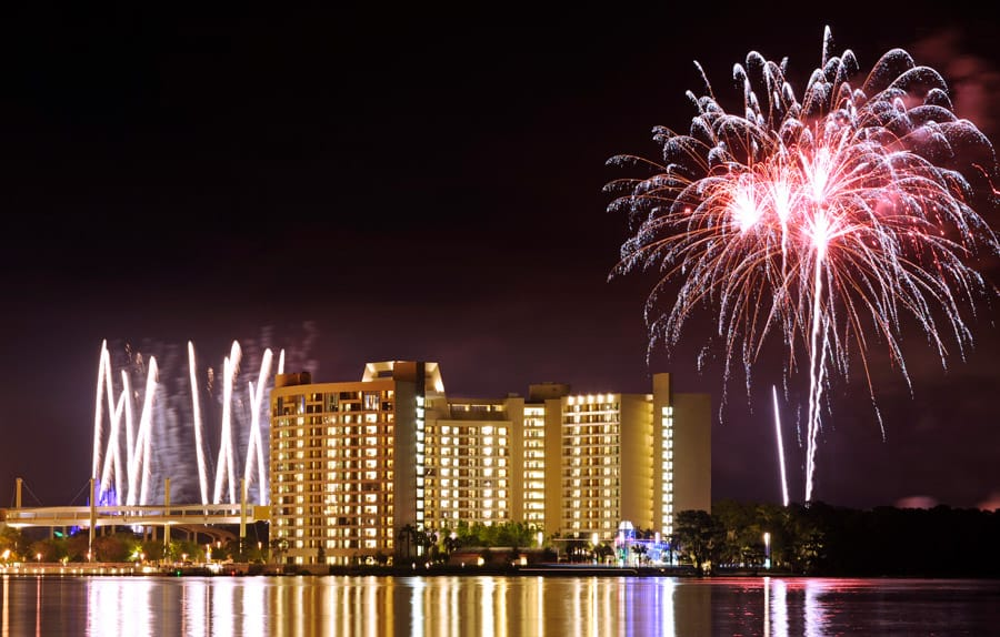 Fireworks above Bay Lake Tower at Walt Disney World Resort