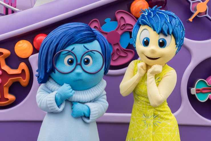 """Joy and Sadness from """"Inside Out"""" at Pixar Pier in Disney California Adventure Park"""