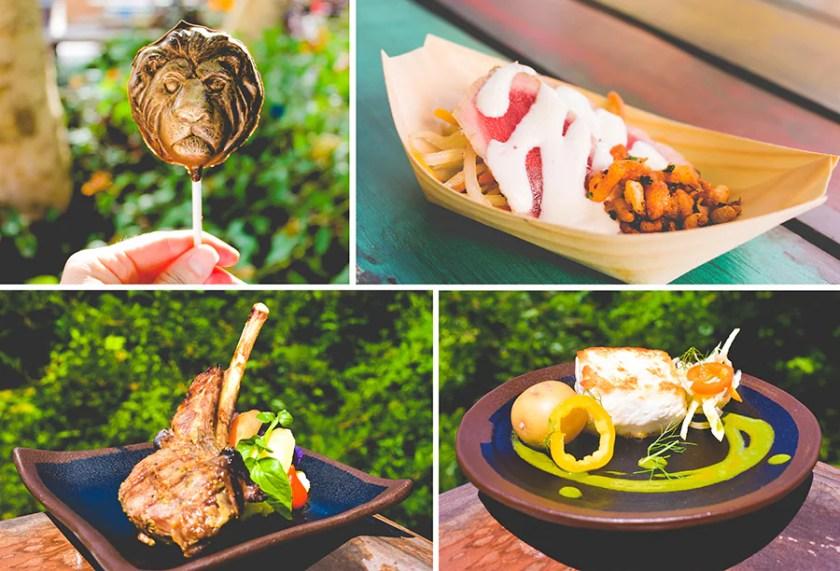Ofrendas de comida para Circle of Flavors: Harambe at Night en el parque temático Disney's Animal Kingdom