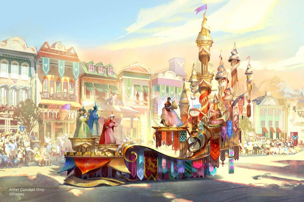 Concept Art for Sleeping Beauty Float in Magic Happens - a brand new nighttime parade coming to the Disneyland Park