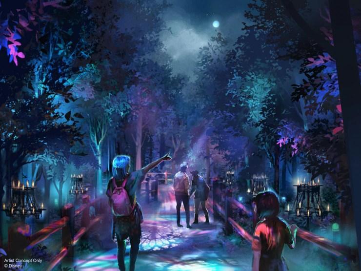 Artist rendering of Villains Grove walk-through experience at Oogie Boogie Bash – A Disney Halloween Party at Disney California Adventure park