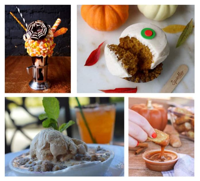 Treat collage featuring a Halloween CrazyShake from Black Tap Craft Burgers & Shakes, a cupcake from Sprinkles, Apple Booberry Cobbler from Ralph Brennan's Jazz Kitchen and Pumpkin Spice Caramel Dip from Wetzel's Pretzels