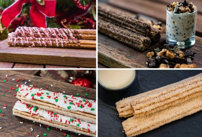 Collage of Holiday Churros for Holidays 2019 at Disney California Adventure Park
