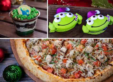 Collage of Alien Pizza Planet Offerings for Holidays 2019 at Disneyland Park