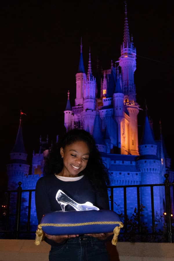 Disney PhotoPass Cinderella's glass slipper Photo Op at Magic Kingdom Park