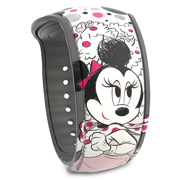 limited release MagicBand featuring Minnie and her signature polka dots